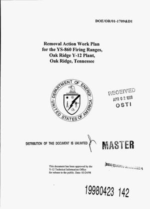 Primary view of object titled 'Removal action work plan for the YS-860 Firing Ranges, Oak Ridge Y-12 Plant, Oak Ridge, Tennessee'.