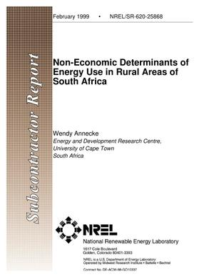 Primary view of object titled 'Non-Economic Determinants of Energy Use in Rural Areas of South Africa'.