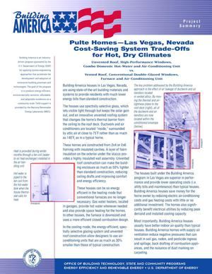 Primary view of object titled 'Pulte homes - Las Vegas, Nevada: Cost-saving system trade-offs for hot, dry climates: Building America fact sheet'.