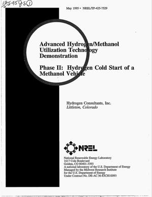 Primary view of object titled 'Advanced hydrogen/methanol utilization technology demonstration. Phase II: Hydrogen cold start of a methanol vehicle'.
