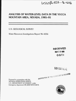 Primary view of object titled 'Analysis of water-level data in the Yucca Mountain area, Nevada, 1985--95'.