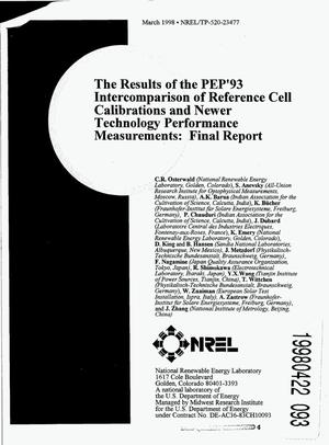 Primary view of object titled 'The results of the PEP`93 intercomparison of reference cell calibrations and newer technology performance measurements: Final report'.