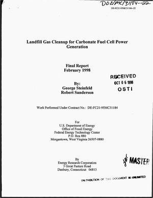 Primary view of object titled 'Landfill gas cleanup for carbonate fuel cell power generation. Final report'.