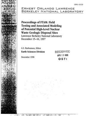 Primary view of object titled 'FTAM: Field Testing and associated modeling of potential high level nuclear waste geologic disposal sites'.