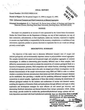 Primary view of object titled 'Diffusional transport and fluid connectivity in mineral aggregates. Final report [for the period August 15, 1994 to August 15, 1999]'.