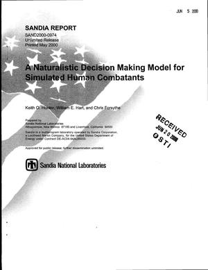 Primary view of object titled 'A naturalistic decision making model for simulated human combatants'.
