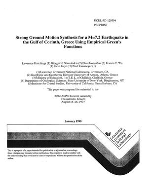 Primary view of object titled 'Strong ground motion synthesis for a M=7.2 earthquake in the Gulf of Corinth, Greece using Empirical Green`s functions'.