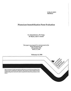Primary view of object titled 'Plutonium immobilization form evaluation'.