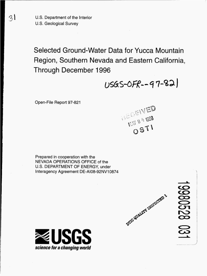 Selected ground-water data for Yucca Mountain region