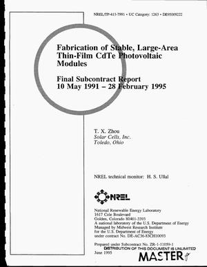 Primary view of object titled 'Fabrication of stable, large-area thin-film CdTe photovoltaic modules. Final subcontract report, May 10, 1991--February 28, 1995'.