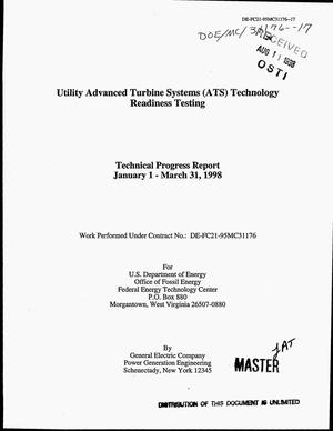 Primary view of object titled 'Utility advanced turbine systems (ATS) technology readiness testing. Technical progress report, January 1--March 31, 1998'.