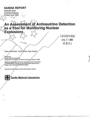 Primary view of object titled 'An assessment of antineutrino detection as a tool for monitoring nuclear explosions'.