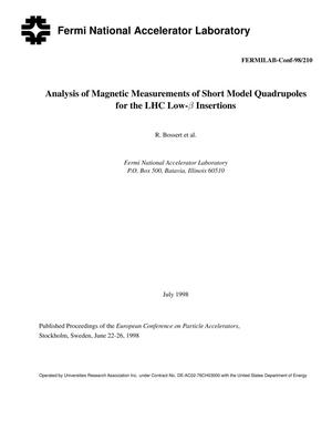 Primary view of object titled 'Analysis of magnetic measurements of short model quadrupoles for the LHC low-b insertions'.