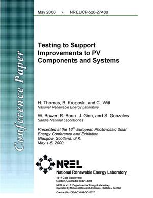Primary view of object titled 'Testing to support improvements to PV components and systems'.