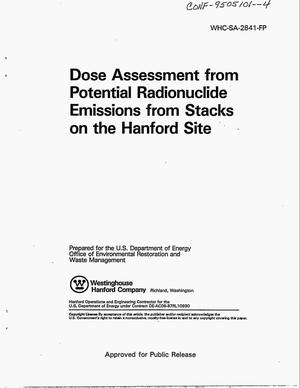 Primary view of object titled 'Dose assessment from potential radionuclide emissions from stacks on the Hanford Site'.