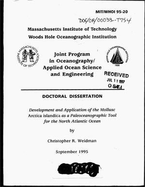 Primary view of object titled 'Development and application of the mollusc Arctica islandica as a paleoceanographic tool for the North Atlantic Ocean'.