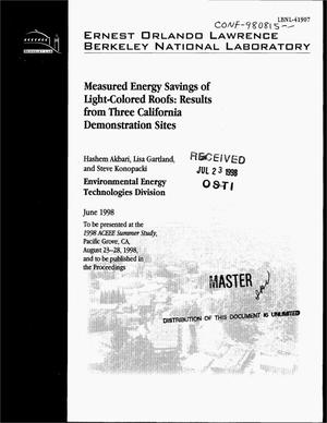 Primary view of object titled 'Measured energy savings of light colored roofs: Results from three California demonstration sites'.