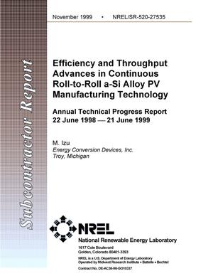 Primary view of object titled 'Efficiency and throughput advances in continuous roll-to-roll a-Si alloy PV manufacturing technology: Annual technical progress report: 22 June 1998--21 June 1999'.
