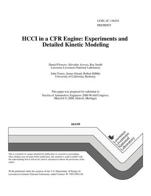 Primary view of object titled 'HCCI in a CFR engine: experiments and detailed kinetic modeling'.