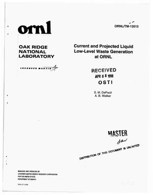 Primary view of object titled 'Current and projected liquid low-level waste generation at ORNL'.