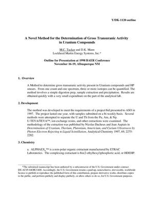 Primary view of object titled 'A Novel Method for the Determination of Gross Transuranic Activity in Uranium Compounds'.