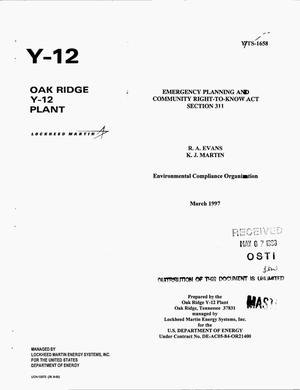 Primary view of object titled '[List of hazardous and extremely hazardous chemicals at the Oak Ridge Y-12 Plant]. Emergency Planning and Community Right-to-Know Act Section 311'.
