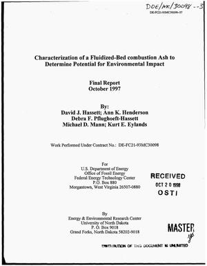 Primary view of object titled 'Characterization of a fluidized-bed combustion ash to determine potential for environmental impact. Final report'.
