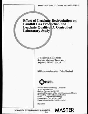 Primary view of object titled 'Effect of leachate recirculation on landfill gas production and leachate quality: A controlled laboratory study'.