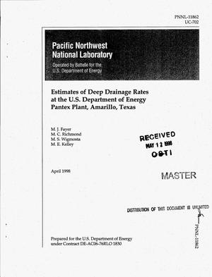 Primary view of object titled 'Estimates of deep drainage rates at the U.S. Department of Energy Pantex Plant, Amarillo, Texas'.