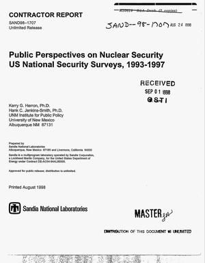 Primary view of object titled 'Public perspectives on nuclear security. US national security surveys, 1993--1997'.
