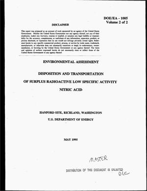 Primary view of object titled 'Disposition and transportation of surplus radioactive low specific activity nitric acid. Volume 2, Environmental Assessment'.