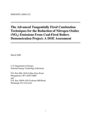 Primary view of object titled 'The advanced tangentially fired combustion techniques for the reduction of nitrogen oxides (NOx) emissions from coal-fired boilers demonstration project: A DOE assessment'.