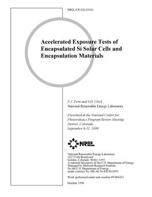 Primary view of object titled 'Accelerated Exposure Tests of Encapsulated Si Solar Cells and Encapsulation Materials'.