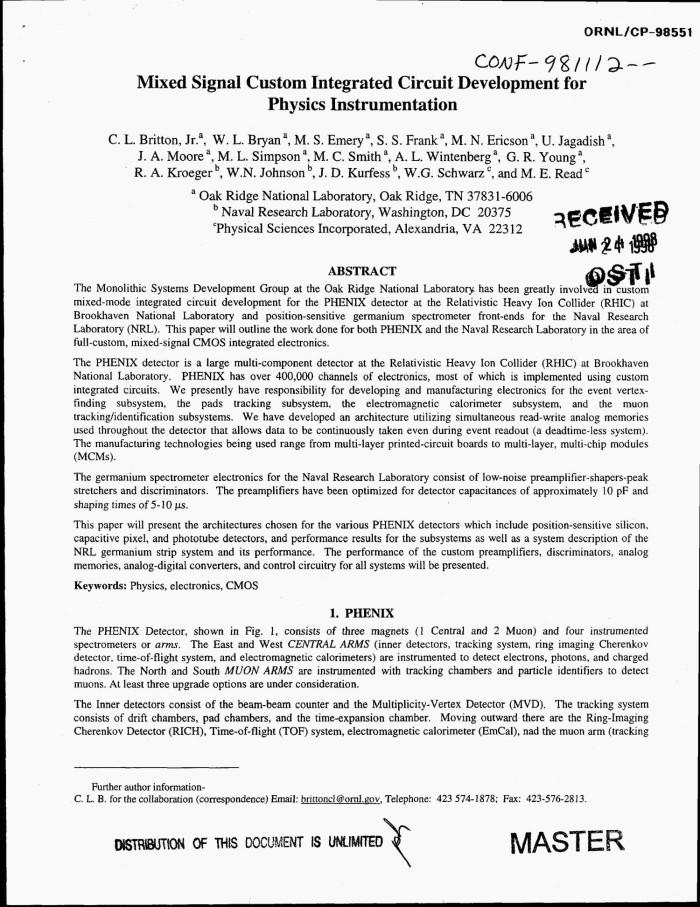 Mixed signal custom integrated circuit development for physics ...
