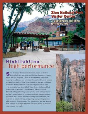 Primary view of object titled 'Highlighting high performance: Zion National Park Visitor Center, a sustainable building for the future'.