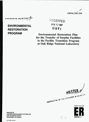 Primary view of object titled 'Environmental restoration plan for the transfer of surplus facilities to the Facility Transition Program at Oak Ridge National Laboratory'.