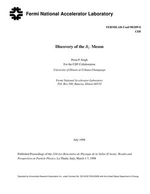Primary view of object titled 'Discovery of the B{sub C} meson'.