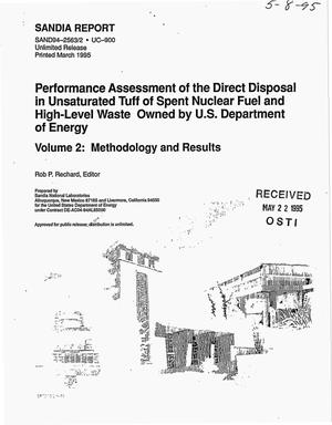 Primary view of object titled 'Performance assessment of the direct disposal in unsaturated tuff or spent nuclear fuel and high-level waste owned by USDOE: Volume 2, Methodology and results'.