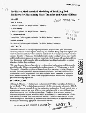 Primary view of object titled 'Predictive mathematical modeling of trickling bed biofilters for elucidating mass transfer and kinetic effects'.