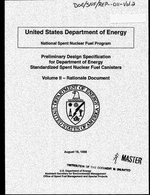 Primary view of object titled 'Preliminary design specification for Department of Energy standardized spent nuclear fuel canisters. Volume 2: Rationale document'.