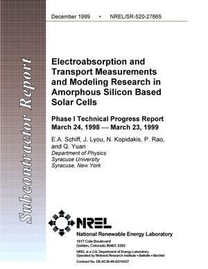 Primary view of object titled 'Electroabsorption and transport measurements and modeling in amorphous-silicon-based solar cells: Phase I technical progress report, 24 March 1998--23 March 1999'.