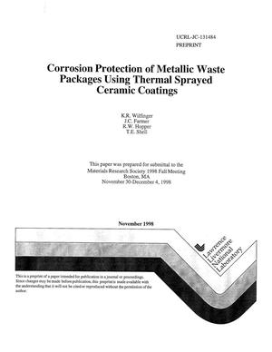Primary view of object titled 'Corrosion protection of metallic waste packages using thermal sprayed ceramic coatings'.