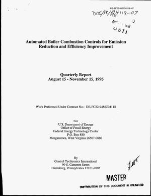 Primary view of object titled 'Automated boiler combustion controls for emission reduction and efficiency improvement. Quarterly report, August 15--November 15, 1995'.