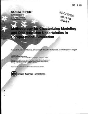 Primary view of object titled 'Methodology for characterizing modeling and discretization uncertainties in computational simulation'.