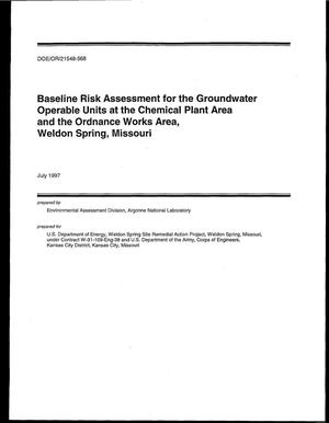 Primary view of object titled 'Baseline risk assessment for groundwater operable units at the Chemical Plant Area and the Ordnance Works Area, Weldon Spring, Missouri'.