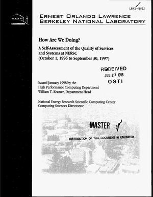 Primary view of object titled 'How are we doing? A self-assessment of the quality of services and systems at NERSC (October 1, 1996--September 30, 1997)'.