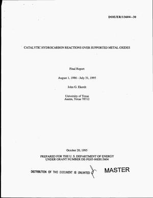 Primary view of object titled 'Catalytic hydrocarbon reactions over supported metal oxides. Final report, August 1, 1986--July 31, 1995'.