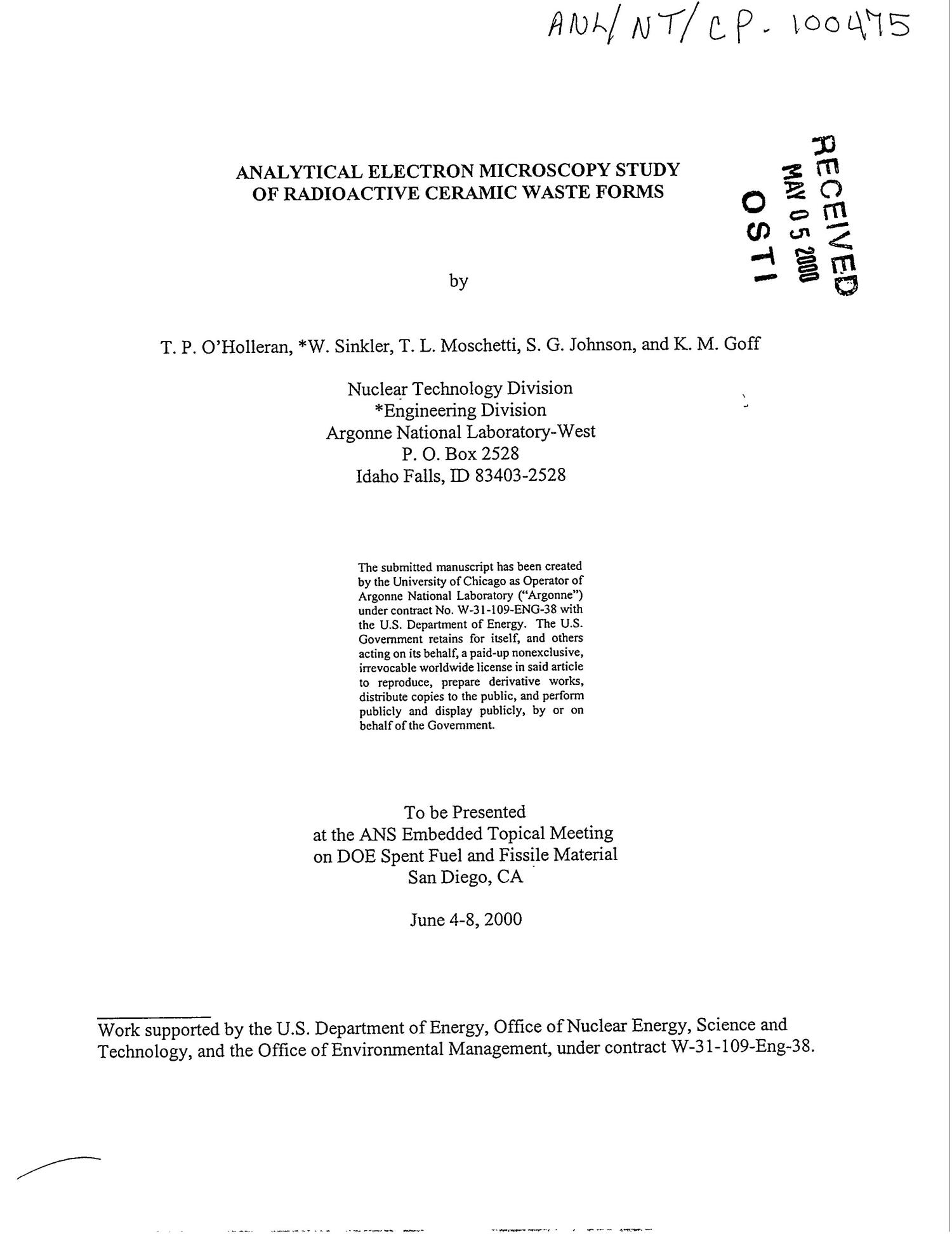 Analytical electron microscopy study of radioactive ceramic waste form                                                                                                      [Sequence #]: 1 of 11