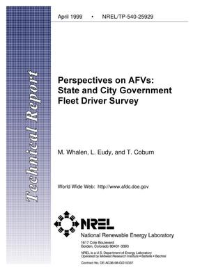 Primary view of object titled 'Perspectives on AFVs: State and City Government Fleet Driver Survey'.