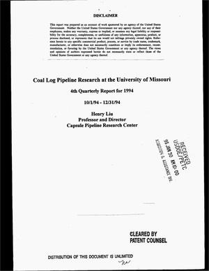 Primary view of object titled 'Coal log pipeline research at the University of Missouri. 4th Quarterly report for 1994, October 1, 1994--December 31, 1994'.